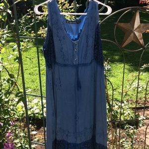 Denim knee length summer dress
